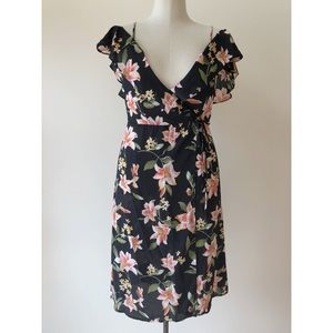 F21 Floral Chiffon Black Ruffle Wrap Dress